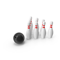 Black Bowling Ball and Pins PNG & PSD Images