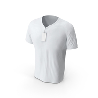 Male V-Neck Mock-up Worn with Tag PNG & PSD Images