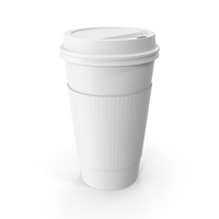 Monochrome To-Go Coffee Cup With Lid PNG & PSD Images