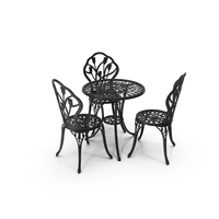 Iron Dining Table & Chairs Set PNG & PSD Images