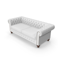 Chesterfield White Tufted Sofa PNG & PSD Images
