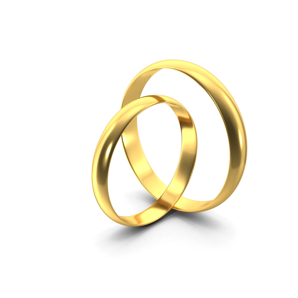Gold Ring Pair Standing PNG & PSD Images