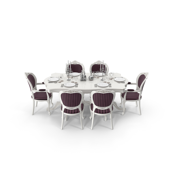 Classical Dining Table Set PNG & PSD Images