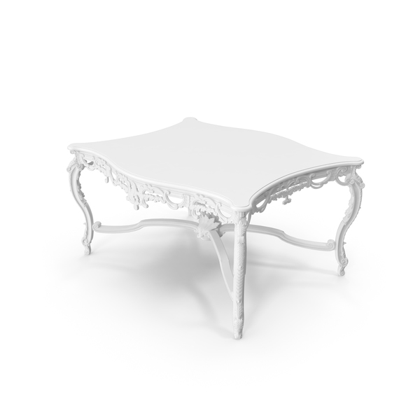 White  Baroque Coffee Table PNG & PSD Images
