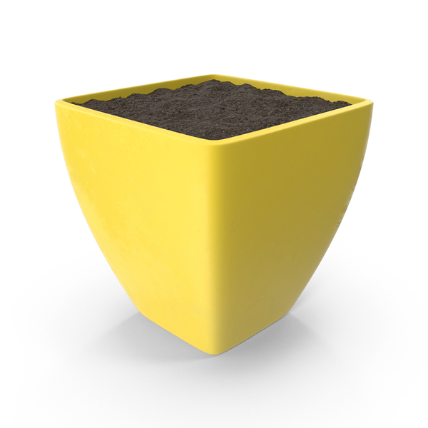 Yellow Flower Pot With Soil PNG & PSD Images