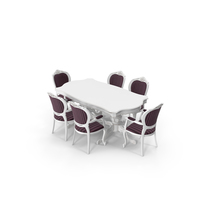 Classical Dining Table & Chair Set PNG & PSD Images