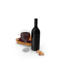 Bottle Of Wine With Glass and Grapes PNG & PSD Images