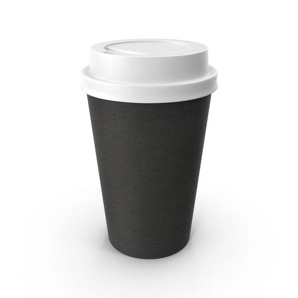Paper Coffee Cup Black with White Lid PNG & PSD Images