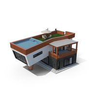 Contemporary House With Roof Basin PNG & PSD Images