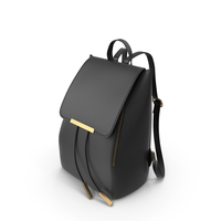 COOFIT Black Faux Leather Backpack for Girls Schoolbag Casual Daypack PNG & PSD Images