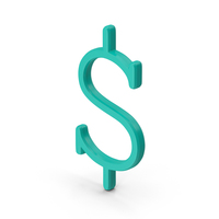 Teal Green Dollar Sign Courier New PNG & PSD Images