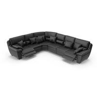 Black Corner Leather Sofa PNG & PSD Images