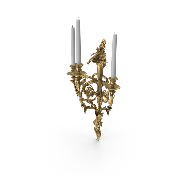 Victorian Baroque Candle Wall Sconce PNG & PSD Images