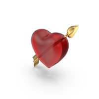Clear Heart  With Golden Arrow PNG & PSD Images