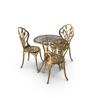 Golden Iron Dining Table & Chair Set PNG & PSD Images