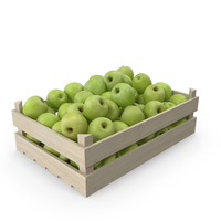 Wooden Granny Smith Apple Crate PNG & PSD Images