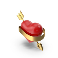Heart with Arrow and Banner PNG & PSD Images
