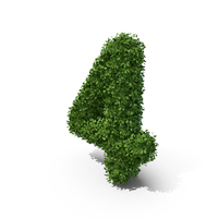 Hedge Shaped Number 4 PNG & PSD Images