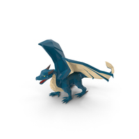 Low Poly Blue Dragon PNG & PSD Images