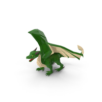 Low Poly Green Dragon PNG & PSD Images