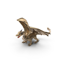 Low Poly Golden Dragon PNG & PSD Images
