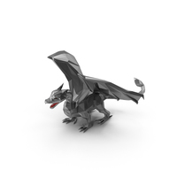 Low Poly Silver Dragon PNG & PSD Images