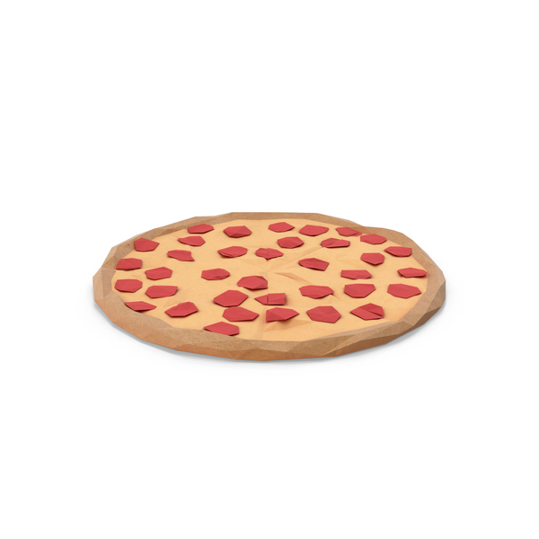 Low Poly Pepperoni Pizza PNG & PSD Images