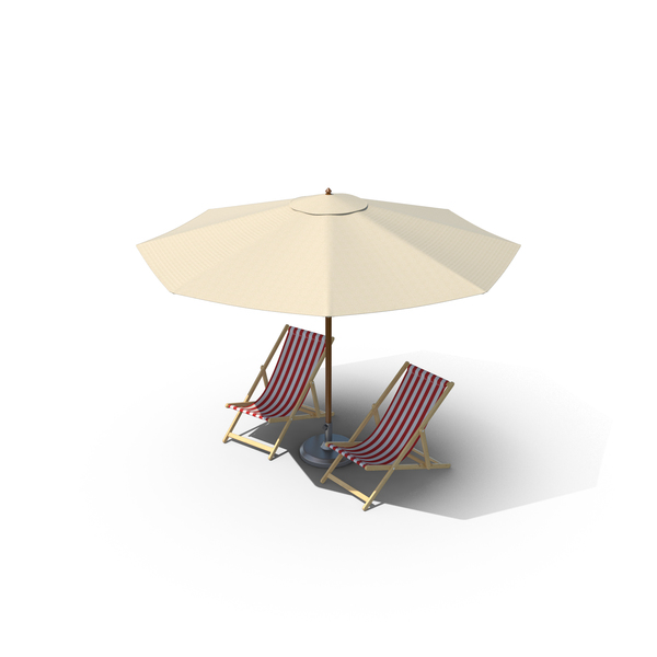 Beach Chairs with Umbrella PNG & PSD Images