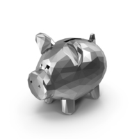 Low Poly Silver Piggy Bank PNG & PSD Images