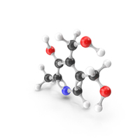 Pyridoxine (Vitamin B6) Molecular Model PNG & PSD Images