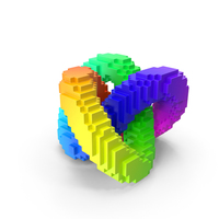 Abstract Rainbow Torus Knot Voxelated PNG & PSD Images