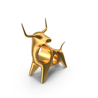 Gold Angry Bull Figurine PNG & PSD Images