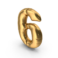 Foil Balloon Number 6 PNG & PSD Images