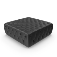 Black Tufted Leather Pouffe PNG & PSD Images