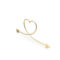 Golden Arrow Heart PNG & PSD Images