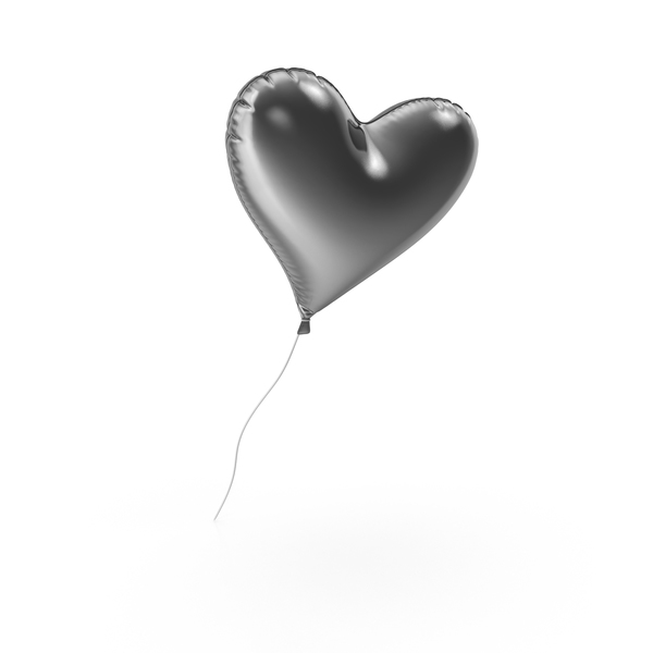 Silver Heart Balloon PNG & PSD Images