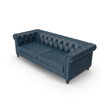Blue Leather Sofa PNG & PSD Images