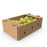 Box With Golden Delicious Apple Full PNG & PSD Images