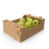 Cardboard Box With Golden Delicious Apple Full PNG & PSD Images