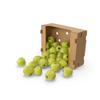 Box With Golden Delicious Apple Spilled PNG & PSD Images