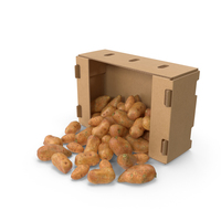 Cardboard Box With Spilled Sweet Potato PNG & PSD Images