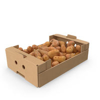 Cardboard Box With Sweet Potato Full PNG & PSD Images