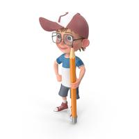 Cartoon Boy With Pencil PNG & PSD Images