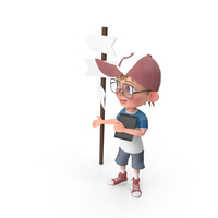 Cartoon Boy At Crossroad PNG & PSD Images