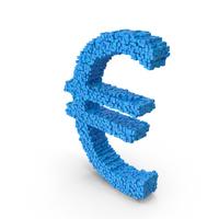 Blue Voxel Euro Symbol PNG & PSD Images