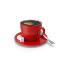 Small Coffee Cup with Red Plate PNG & PSD Images