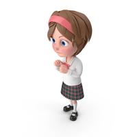 Cartoon Girl Guarding PNG & PSD Images