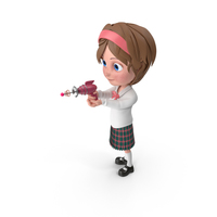 Cartoon Girl Shooting PNG & PSD Images