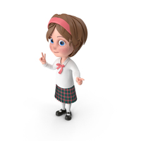 Cartoon Girl Pointing PNG & PSD Images