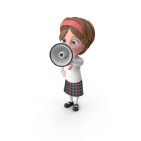 Cartoon Girl Holding Loud Speaker PNG & PSD Images